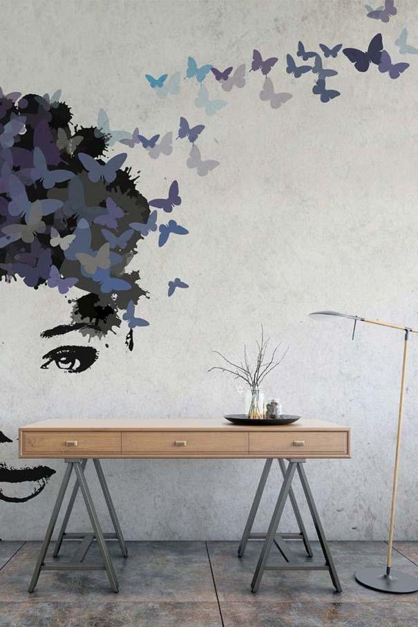 Interior scene, table, lamp, vase in loft like setup